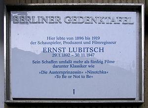 Berlin memorial plaque, Ernst Lubitsch, Schönh...