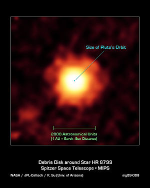 Spitzer infrared image of HR 8799's debris dis...