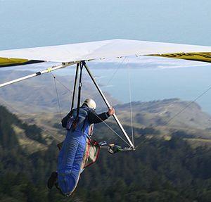 Hang glider launching from Mount Tamalpais