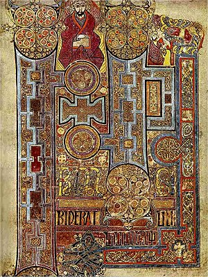 The Book of Kells, c. 800, showing the lavishl...