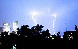 Lightings in Tel Aviv sky, January 2006. Publi...