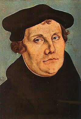 Maarten Luther geschilderd door Lucas Cranach de Oude in 1529