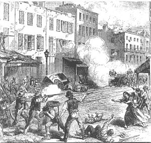 Depiction of the Draft Riots in 1863 from an u...