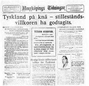 Daily newspaper Norrköpings Tidningar in 1918