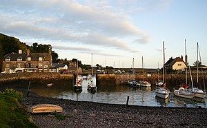 Porlock Weir Harbour in Somerset, UK. Taken at...