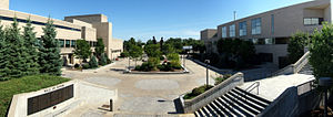 A panoramic picture of the Angell Center court...