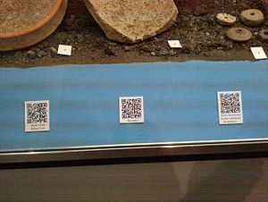 English: 3 QR codes in Derby Museum