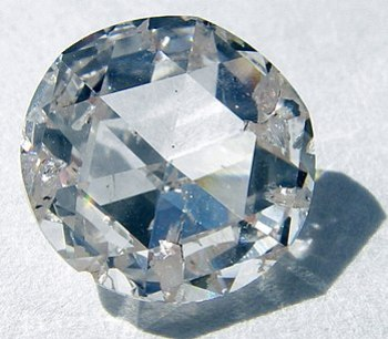 A rose-cut synthetic diamond created by Apollo...