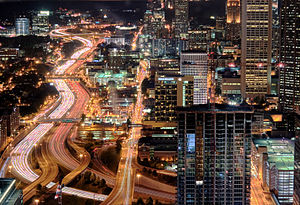 Atlanta Downtown Connector at night
