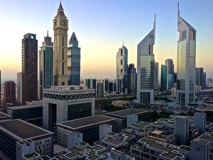 Emirates Towers in Dubai at dawn