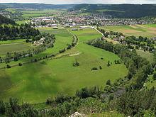 """Aussicht vom """"Gelber Fels"""" auf Mühlheim"""