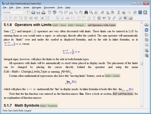 Screenshot of LyX 1.5