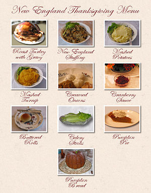 English: A New England Thanksgiving dinner, se...