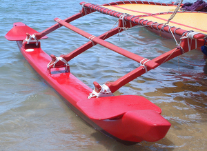 Outrigger on a contemporary Hawaiian sailing canoe