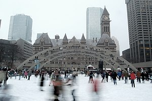 Ice skating in Nathan Phillips Square, Toronto...