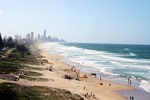 View of beach at Surfers Paradise with skyline.