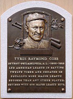 Placa conmemorativa de Ty Cobb en el Museo del Salón de la Fama del Béisbol en Cooperstown.