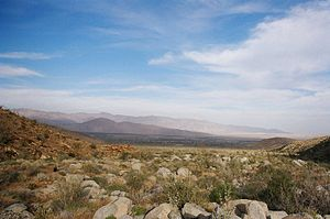Vista of the Anza Borrego desert landscape.