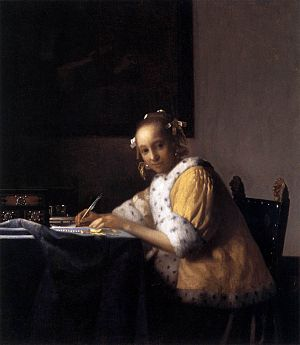 Johannes Vermeer - A Lady Writing a Letter - W...