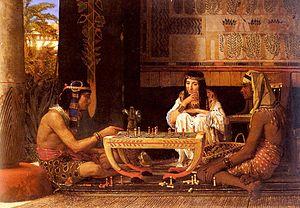 English: Egyptian chess players