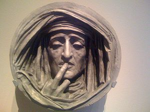 English: Le Silence, painted plaster sculpture...