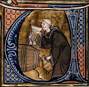 Monastic cellarer tasting wine, from Li Livres...