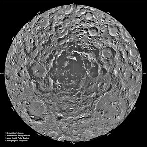 Lunar south pole region as imaged by Clementin...