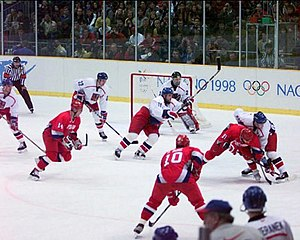 English: The mens ice hockey Gold Medal Game o...