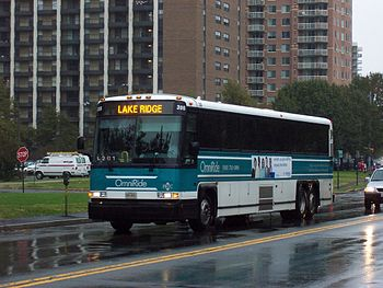 A PRTC OmniRide bus in Arlington, Virginia ope...