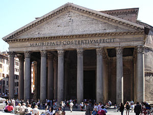 Hadrian's Pantheon in Rome is an example of Ro...
