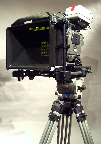 Modern teleprompter mounted on television camera, circa 2005 - Wikipedia image