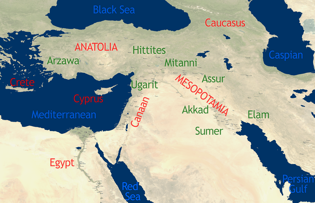 Ancient East Topographic Map Near