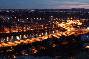 English: Prague - Barrandov bridge at night.