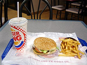 A Hamburger, fries, and a coke from a fast-foo...