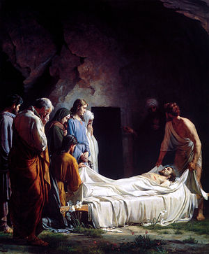 English: Burial of Christ, Nicodemus depicted ...