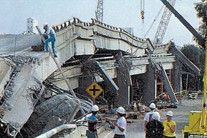 The collapsed Cypress Street Viaduct at the No...