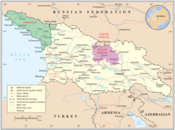 South Ossetia (shown in purple) within Georgia. The territory forms part of several Georgian administrative units.
