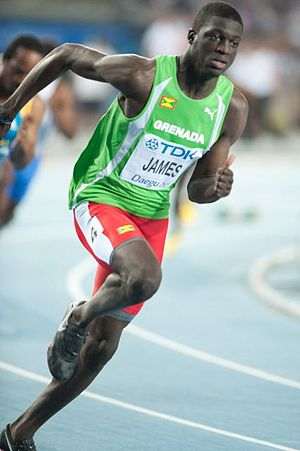 English: Kirani James during 2011 World champi...