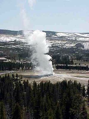 English: Old Faithful Geyser as seen from the ...