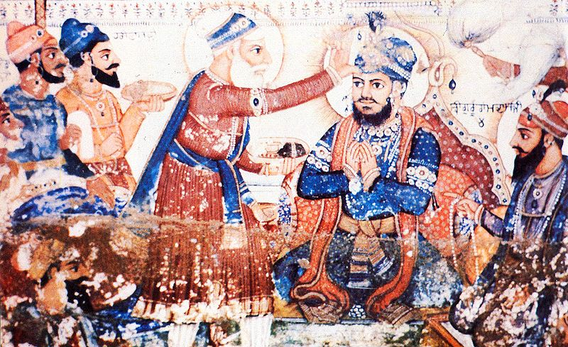 An old fresco painted on Gurdwara Ramsar in Amritsar, India, depicting the annointment of Guru Arjan as Sikhism's fifth Guru (source: wikipedia.org)