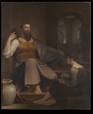 """English: """"Jeremiah Dictating His Prophecy..."""