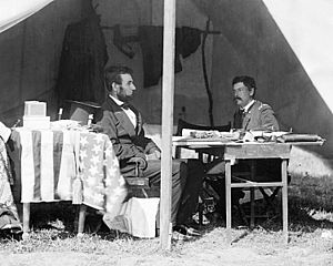Lincoln in McClellan's tent after the Battle o...