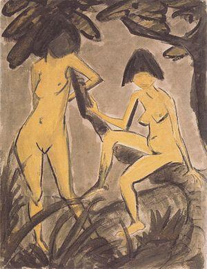 Otto Mueller - Zwei weibliche Akte am Baum