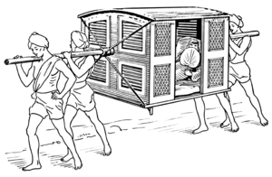Line art drawing of palanquin.