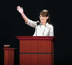Sarah Palin addressing the Republican National...