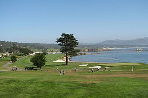 Pebble Beach Golf Links 18th hole, California,...
