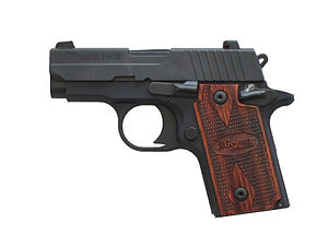 English: A P238 pistol chambered for .380 ACP ...