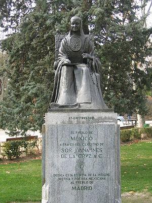 Statue of Sor Juana in Parque del Oeste, Madri...