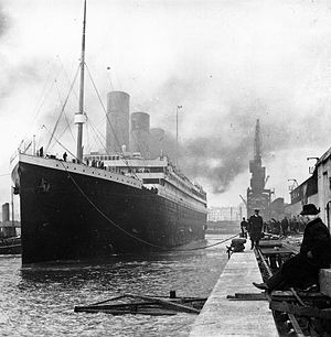 Titanic at the docks.