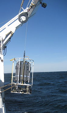 A CTD unit being deployed from a ship